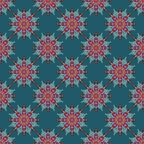Rose Mandala on Teal - Small