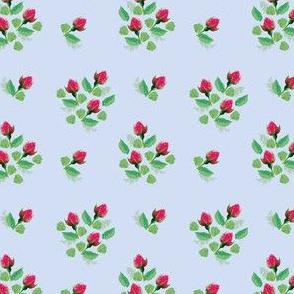 Pink vintage style rosebuds on light blue (small)