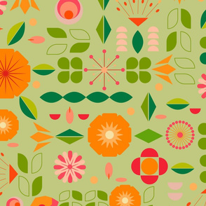 Verdure- Mod Scandi Florals- Light Pine Green- Large Scale