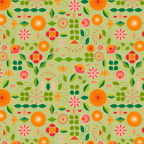Verdure- Mod Scandi Florals- Light Pine Green- Regular Scale