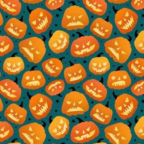 Small scale / halloween pumpkins green background