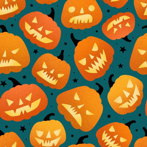 Large scale / halloween pumpkins green background
