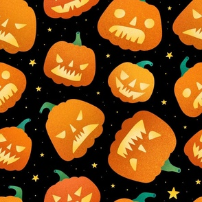 Large scale / halloween pumpkins black background