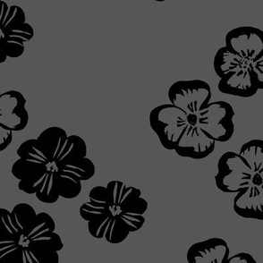 Vintage violet blossom autumn winter garden botanical vintage leaves and flowers fall nursery seventies style night charcoal gray black neutral LARGE