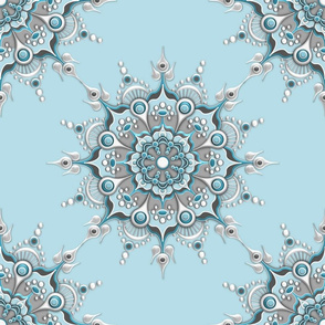 Glacial Mandala on Ice Blue - Medium