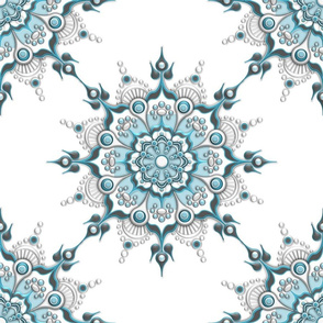 Glacial Mandala on White - Medium