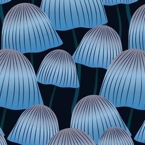Field of Dancing Blue Mushrooms