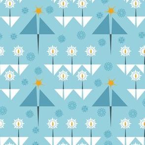 Aqua Blue Geometric Christmas Trees, Snowflakes and Candles Paducaru