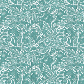 vines and birds teal