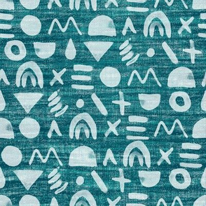 linen watercolor doodles- dark turquoise