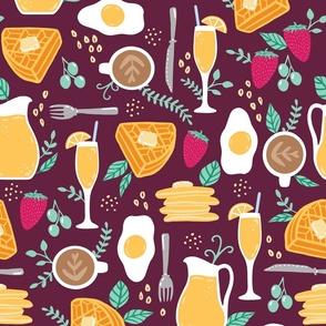 Sunday Brunch mimosas, waffles, eggs, coffee breakfast