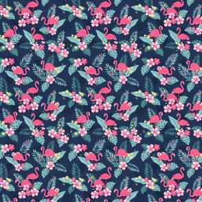 Tropical Flamingos - Navy SMALL
