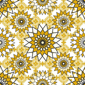 medallions flowers gold white