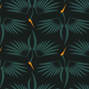 birds - flying cranes II - stylized birds