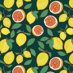 Lemons and Grapefruit on Dark Green