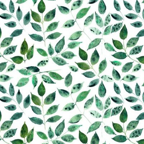 Silence in the forest - smaller scale - watercolor leaves - nature leaf pattern
