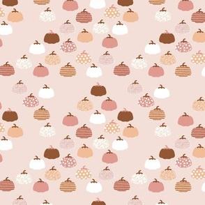 Sweet pumpkin garden halloween and autumn fruit design nursery peach pink pale rust SMALL