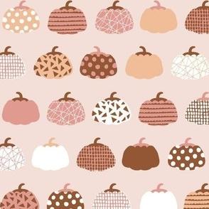 Sweet rows of pumpkins garden halloween and autumn fruit design nursery peach pink pale rust