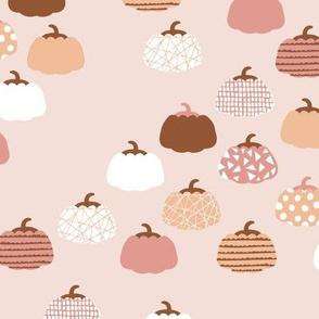 Sweet pumpkin garden halloween and autumn fruit design nursery peach pink pale rust