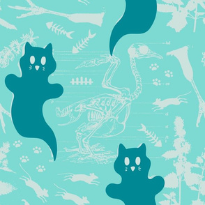 LARGE - Ghost Cats - blue