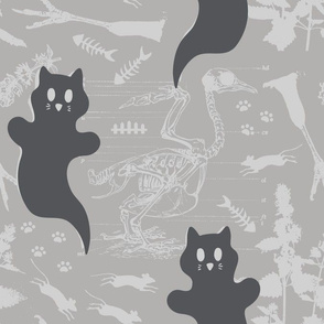 LARGE - Ghost Cats - grayscale