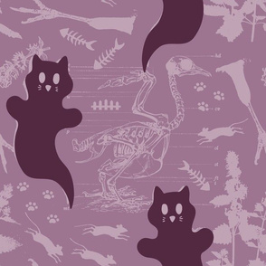 LARGE - Ghost Cats - purple