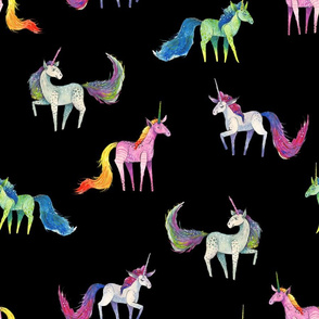 Unicorn Magic - Medium Scattered Unicorns on Black