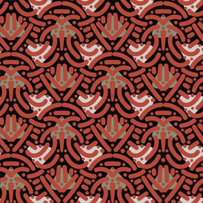 ethnic style abstract pattern  in red and black by rysunki_malunki