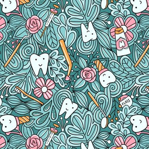 Dentist pattern. Teeth and doodles. Cute tooth.