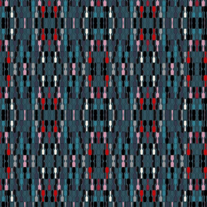 Moody Blue Hair Brush Geometric Abstract