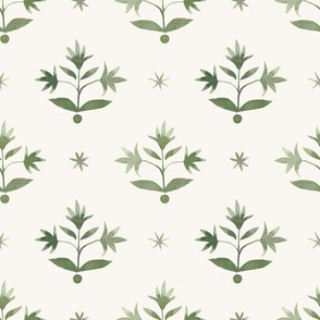 Thistle Stars Olive and Cream