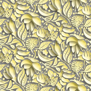 papercut floral in ultimate gray and illuminating yellow by rysunki_ malunki