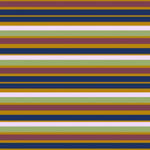 Navy blue, mustard, pink, green and deep red stripe