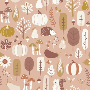 Autumn Nature Pattern Earthy Colors