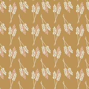 Wheat Plants Pink And White On Gold