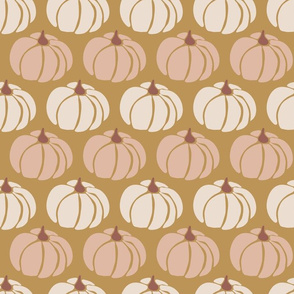 Pumpkins Beige And Pink On Gold
