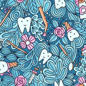 Dentist doodle blue