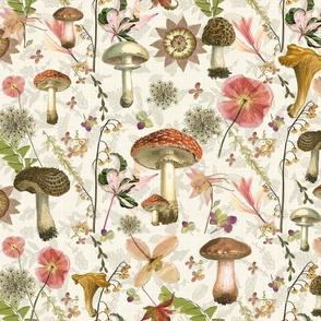 Mushroom Garden linen