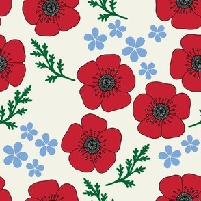 Poppies and forget-me-nots off white (large)
