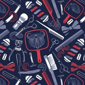 Small scale // Shear shave shine // midnight blue background red white and blue vintage barber shop tools