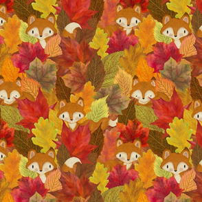 Foxes Hiding in the Fall Leaves Fox Woodland Autumn - Medium Scale