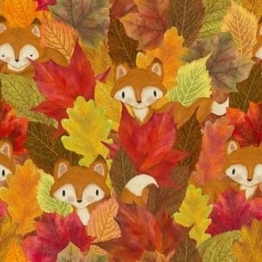 Foxes Hiding in the Fall Leaves - Small Scale