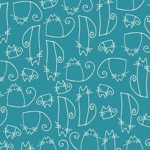 small scale cats - tinkle cat turquoise - hand-drawn cats