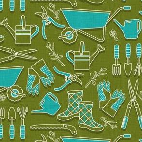 gardening tools green_blue