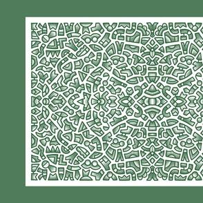Tea Towel Green Doodle 2020 inklaura