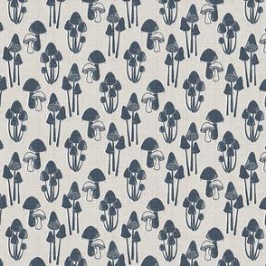 mushrooms block print (navy)