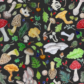 Mushroom Forest Nature Tea Towel