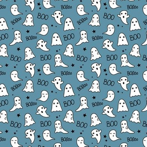 Spooky night ghost boo baby and stars kawaii halloween nursery pattern kids blue night SMALL