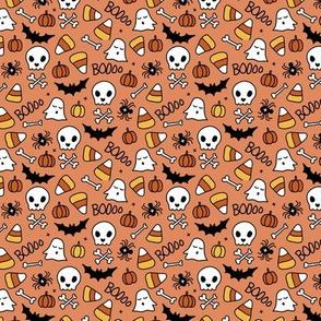 Pumpkins and bones ghosts skulls and skeleton halloween icons kids print orange yellow XS