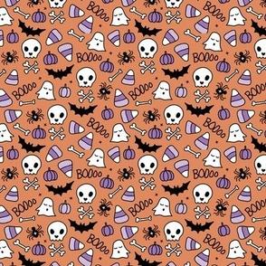 Pumpkins and bones ghosts skulls and skeleton halloween icons kids print orange purple lilac XS